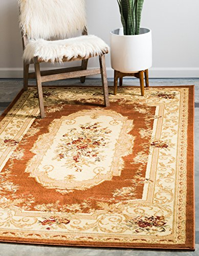 (Unique Loom Versailles Collection Traditional Classic Brick Red Area Rug (8' x 10'))