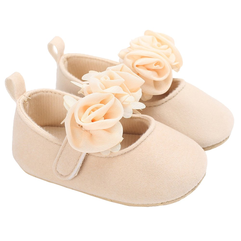 Baby Girls Suede Rose Mary Jane Princess Dress Shoes Crib Shoes for Photos Biege Size S