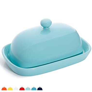 Sweese 3165 Porcelain Cute Butter Dish With Lid, Perfect For East/West Butter, Turquoise