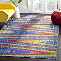 Safavieh Aztec Collection AZT203C Blue and Multicolored Area Rug (3 x 5)
