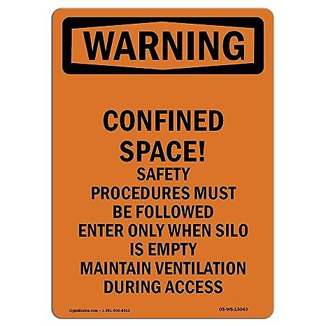 Amazon com: OSHA Warning Sign - Confined Space! Safety