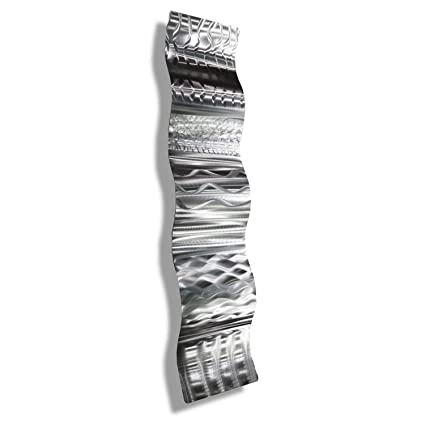 Amazon Com Silver Wall Sculpture With Abstract Modern Etchings