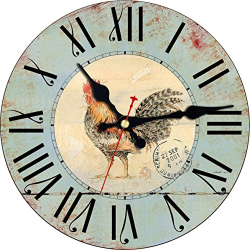 """ShuaXin Primitive Country Rooster Wall Clock, Shabby Chic Rustic Kitchen Home Antique Style Room Decorative Clocks (16"""", R-08)"""