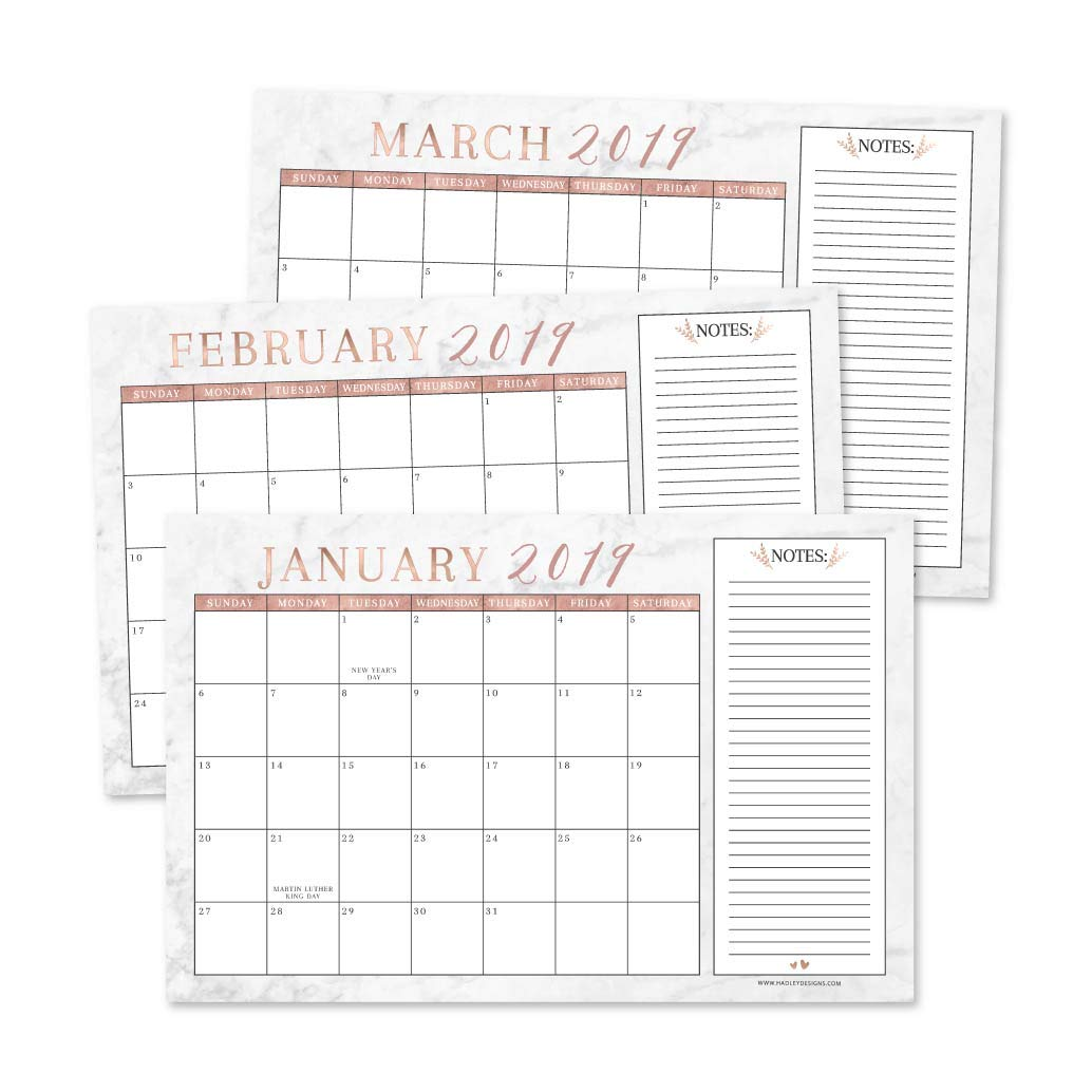 Rose Gold Marble 2019-2020 Large Monthly Desk or Wall Calendar Planner, Big Giant Planning Blotter Pad, 18 Month Academic Desktop, Hanging 2-Year Date Notepad Teacher, Family or Business Office 11x17""