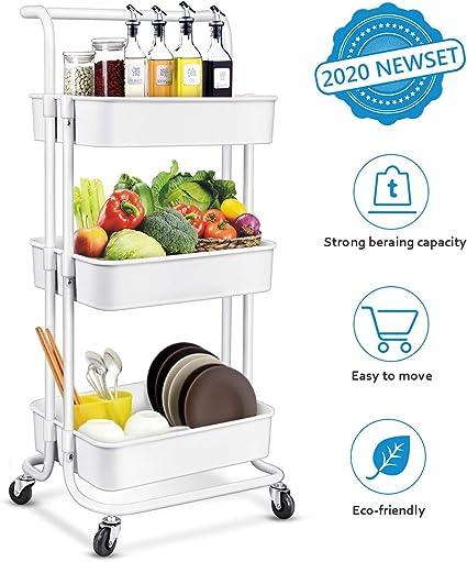 Amazon.com: Homemaxs Carrito de almacenamiento de 3 niveles ...