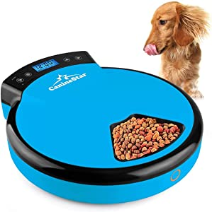 Automatic Pet Feeder for Cats Dogs, 5 Meal Food Dispenser Trays Cat Feeder Dry Wet Food Auto Feeder by CanineStar (Blue)