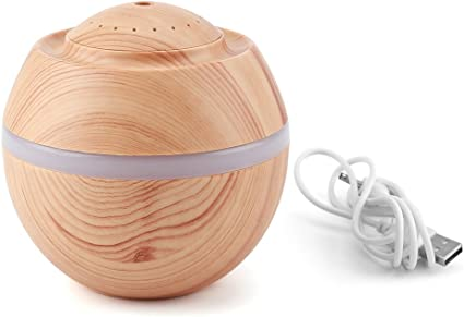 Mini Humidifier, 500ML 7 Color LED Ultrasonic Humidifier Portable USB Cool Air Oil Diffuser Purifier Home Office Room (Light Wood Color)