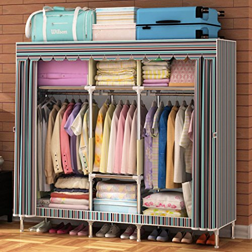 GL&G Wardrobe Closet Oxford cloth Free Standing Storage Organizer – Home finishing decoration Portable, Detachable, and Lightweight Steel Pipe Clothing Closet,B,65''67'' by GAOLIGUO