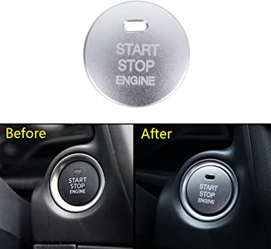 1x Silver Car Engine Start Stop Button protect Cover For Mazda 3 Axela 2017 2018