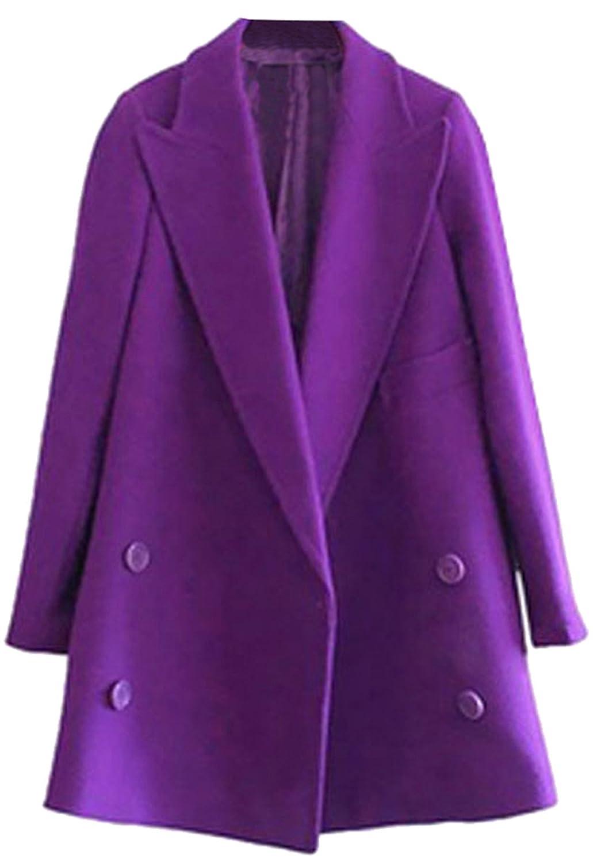 URqueen Women's Winter Fashion Casual Loose Double-breasted Woolen Coat
