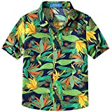 SSLR Big Boy's Print Button Down Casual Short Sleeve Tropical Hawaiian Shirt (Medium(10-12), Dark Blue)