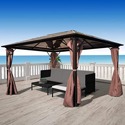 Gazebo with Curtain Brown Aluminum 13' x 10': Kitchen & Dining