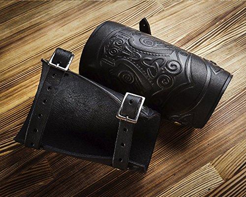Leather Bracers Cuff - Larp Gauntlet - Leather Wristbands - LARP Accessories Viking Mjolnir bracelet- Thor`s Hammer Ravens - Archery Armguard - Length ()