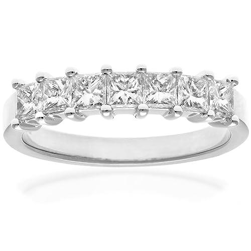 Naava - Anillo para Mujer de Platino 950 con Diamante Corte Princesa 0.143 ct Talla 14
