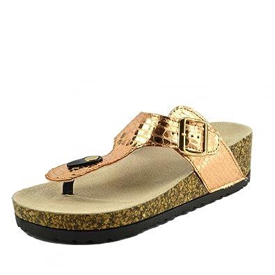 1a862473fb63 Kick Footwear - Ladies Womens Slip On Cushioned Footbed Cork Flip Flops  Metallic Mules Sandals  Amazon.co.uk  Shoes   Bags