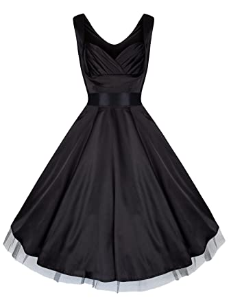 Ladies 1940s 1950s Vintage Style Black Silky Satin Sweetheart Draped Neck Cocktail Prom Dress (08