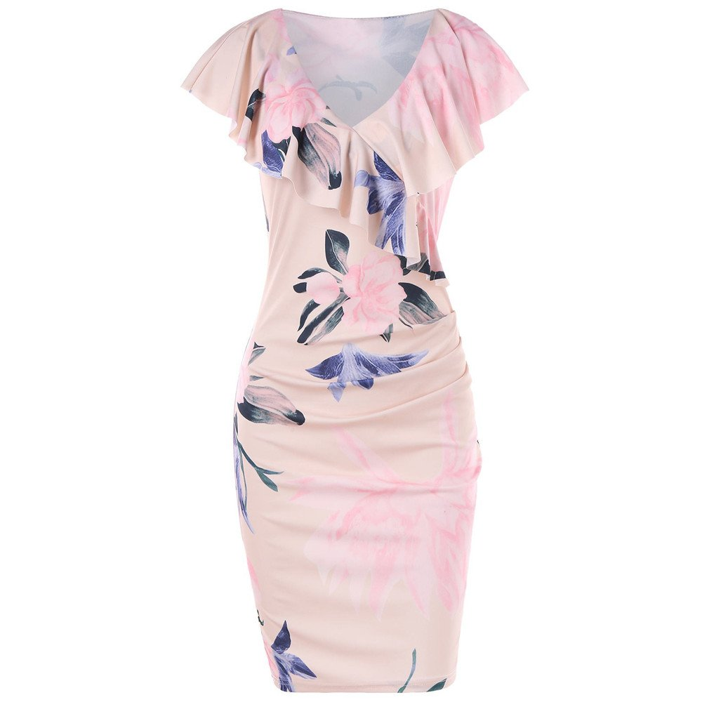 Women's Vintage Floral Ruffle Short Sleeve Party Sexy Bodycon Dress Flounce Knee Length Tunic Beach Dress Pink