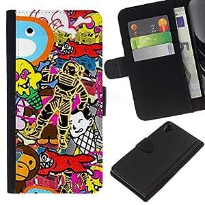 KingStore / Leather Etui en cuir / Sony Xperia Z2 D6502 / Wallpaper Arte Aleatorio Spacesuit Fox mono
