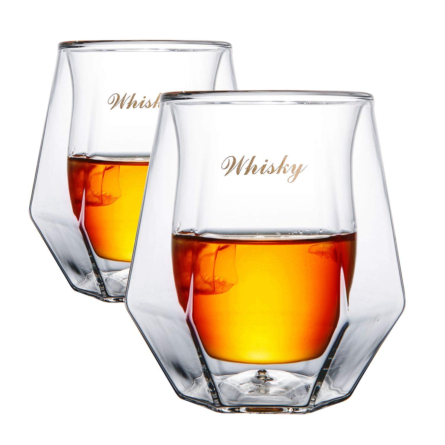 Gootus Whiskey Glasses Set of 2 - Hand Blown Double Walled Glass with Premium Gift Box - Perfect for Scotch, Bourbon and Old Fashioned Cocktails by Gootus