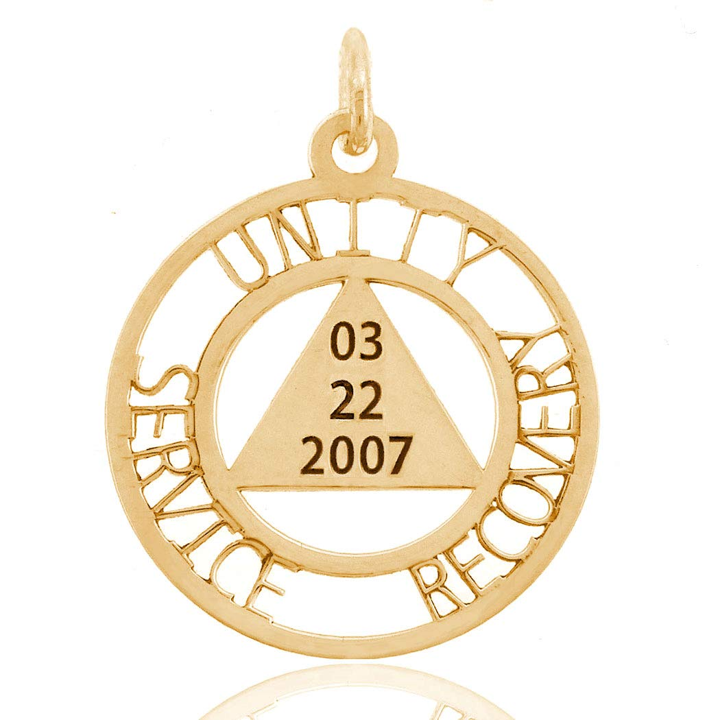 12 Step Jewelry Custom AA Unity Pendant with Engraved Dry Date