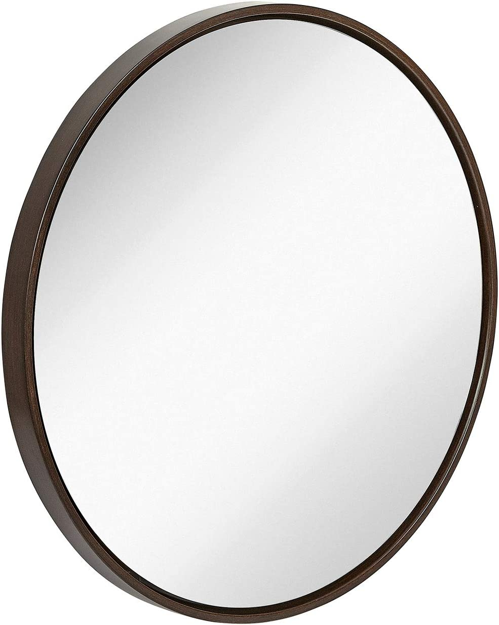 "Hamilton Hills Clean Large Modern Wenge 32"" Wood Circle Frame Wall Mirror 