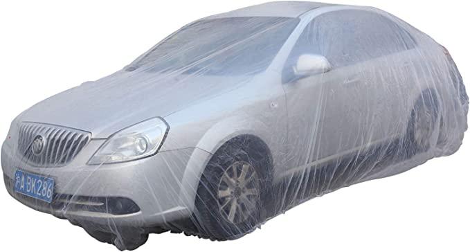 Waterproof Rain Dust Garage Cover Temporary QYWSJ Clear Plastic Disposable Universal Car Covers 3.8m*6m