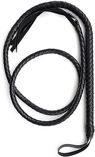 Bestoyard 1,8m Black Bull Whip en cuir souple et daim tressé Tails équestre Cheval Sport Fouette 8m Black Bull Whip en cuir souple et daim tressé Tails équestre Cheval Sport Fouette