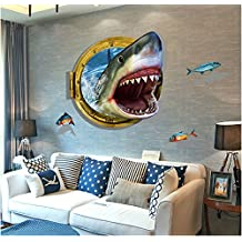 Cool Funny 3D Shark Ocean Underwater World Removable Decorating Mural Wall Stickers