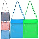 FineGood 5 Pieces Mesh Beach Bags, Sand Toys Sea Shell Totes for Kids Men Women, Reusable Foldable Lightweight Storage Bags with Adjustable Straps -2 Large (Blue, Green), 3 Small (Red, Black, Blue)