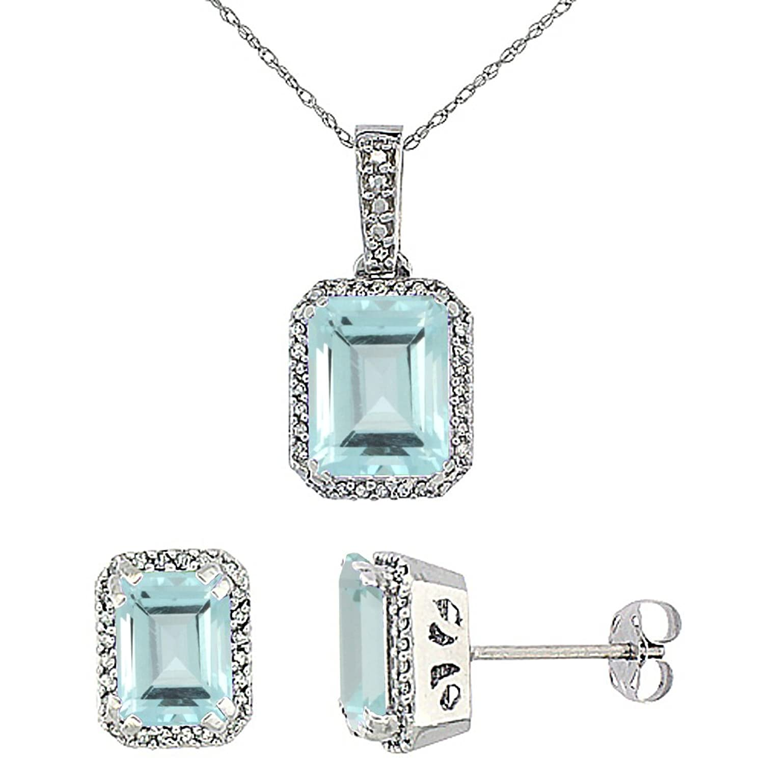 10K White Gold Diamond Natural Octagon Aquamarine Earrings & Pendant Set