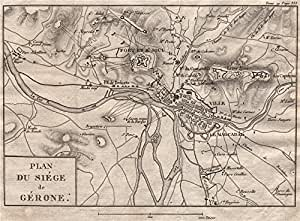 Siege de Gerona. Peninsulares Guerra. 1808 – 9. España – 1820 – Old Antiguo Mapa Vintage – Mapas de Impreso de España: Amazon.es: Hogar