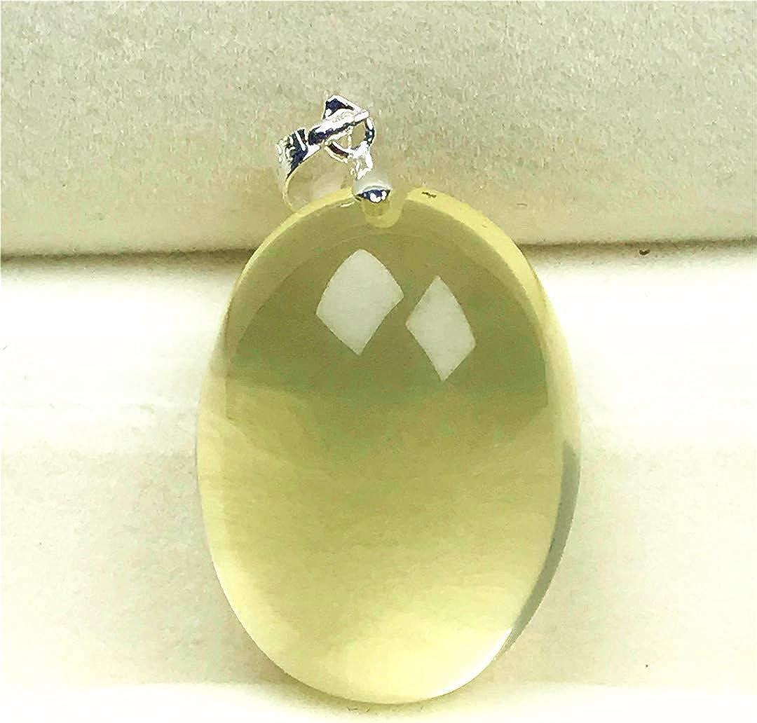DUOVEKT - Colgante citrino amarillo natural, piedra de cristal citrino para mujer hombre cuarzo 28 x 21 x 13 mm cuentas ovaladas joyas AAAAA