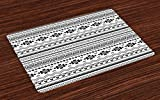 Ambesonne Native American Place Mats Set of 4, Aztec American Folkloric Art Borders Ancient Tribal South America Culture, Washable Fabric Placemats for Dining Room Kitchen Table Decor, Black White