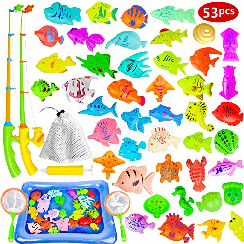 Fishing Game for Kids - Magnetic Fishing Toy for Toddlers, 53 PCS Plastic Floating Fishing Bath Toys Set for Kids Bath Time, Learning and Education Toys for Children -