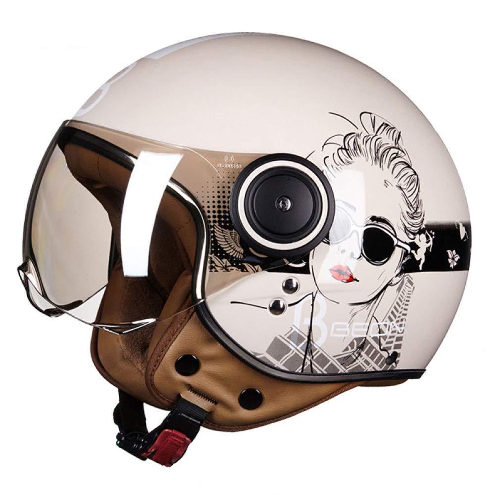 ECE zertifiziert M 57-58cm Italy Stofftragetasche SOXON SP-301 Italy Motorrad-Helm Roller-Helm Jet-Helm Bobber Scooter-Helm Pilot Cruiser Vintage Mofa Chopper Helmet Biker Vespa-Helm Retro Wei/ß inkl