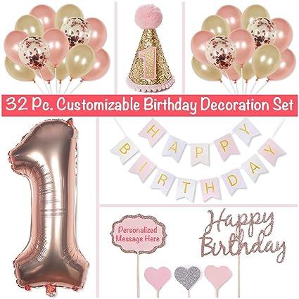 PapaKit Baby Girl 1st Birthday Party Decoration Kit Sparkling Metallic Rose Gold 32 Piece