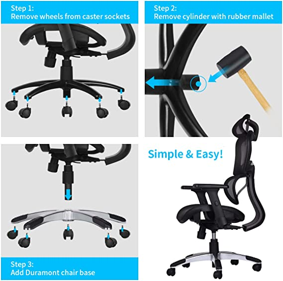 Amazon Com Duramont Office Chair Base Replacement Heavy Duty Base To Replace Any Chair Bottom Strong Aluminum Metal Legs Help Your Desk Chair Last A Lifetime Universal Standard Size 28