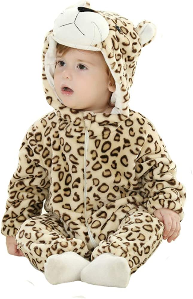 Doladola Unisex Baby Hooded Romper Tier Flanell Onesies