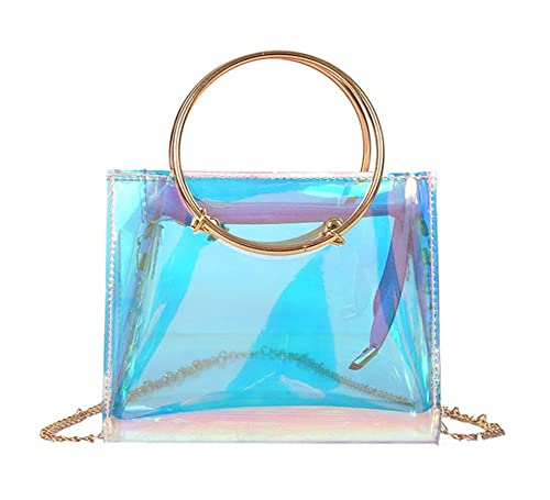 eeed4af687c Amazon.com: Holographic Transparent Crossbody Purse Cute Tote Bag for Women  with Round Handle: Shoes