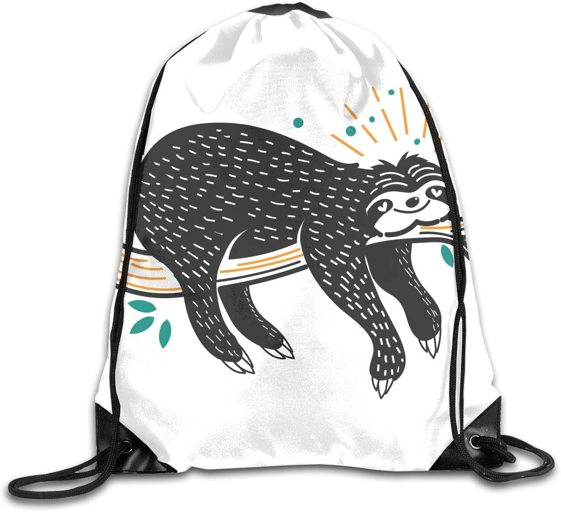 CoolStuff Travel Shoe Bags,Happy Sloth Drawstring Backpack Hiking Climbing Gym Bag,Large Big Durable Reusable Polyester Footwear Protection