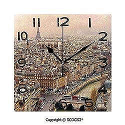 SCOCICI Square Wall Clock Paris Streets Busy Day Buildings Bridge River City Symbol Horizon Photography Print 8 inch Morden Wall Clocks Silent Square Decorative Clock