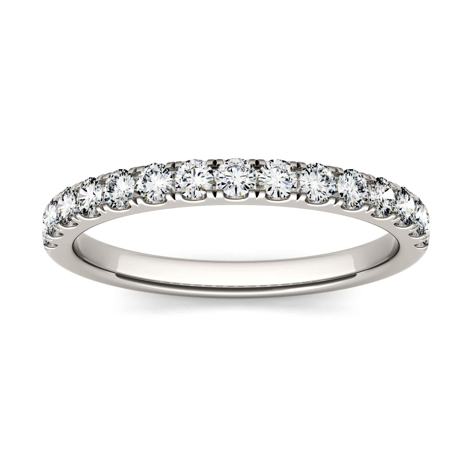 14K White Gold Moissanite by Charles & Colvard 2mm Round Wedding Band-size 6, 0.45cttw DEW by Charles & Colvard