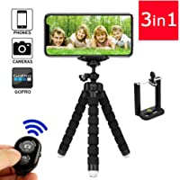 TERSELY Premium Phone Flexible Adjustable Tripod, [3 in 1] with Wireless Bluetooth Remote Shutter and Universal Clip, Fits iPhone/Android Samsung, Mini Tripod Stand Holder for Sports Camera GoPro
