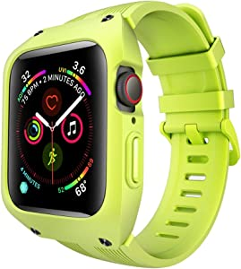 VANCHAN Compatible with Apple Watch Bands 44mm Series 6/5/4 & Apple Watch SE 44mm Band, Sport Soft Silicone Band with Protective Case Men Women for Apple Watch SE & iWatch Series 6/5/4 44mm (Green)