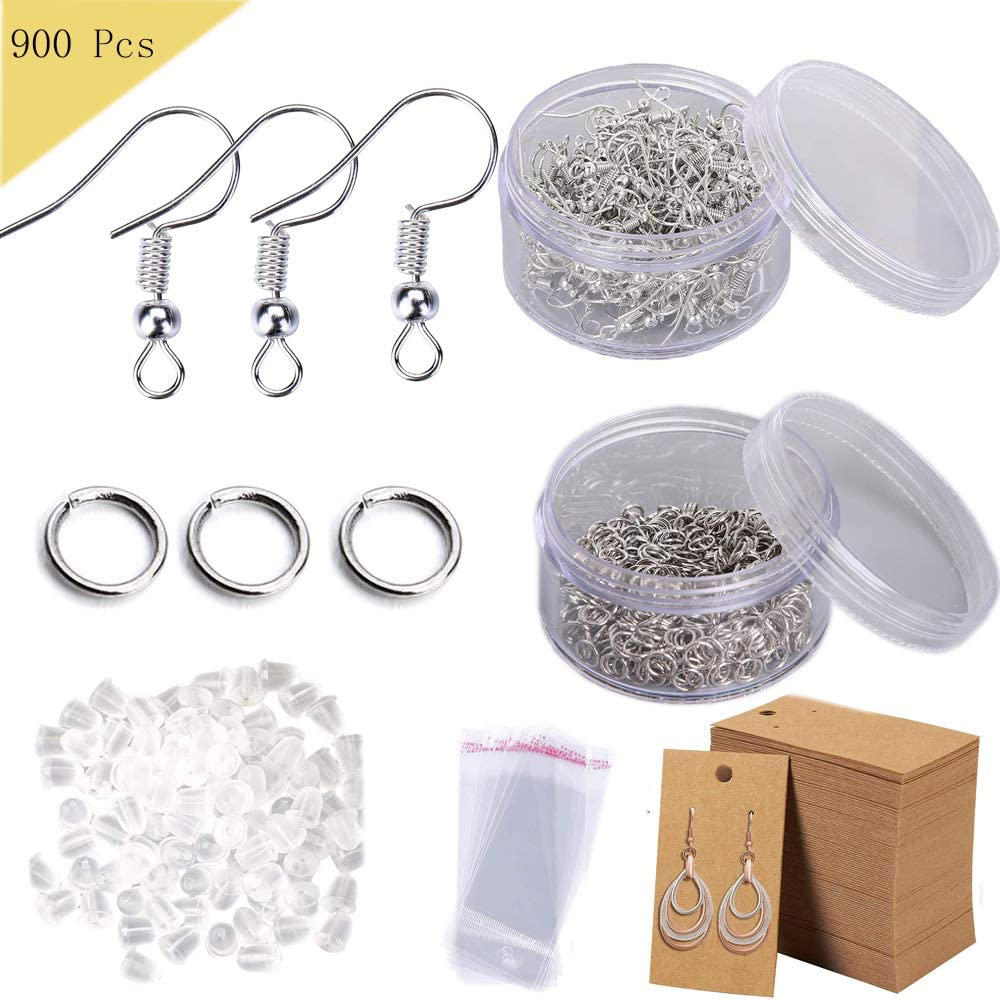 900 Pcs Earring Making Supplies Kit with Hypoallergenic Earring Hooks,Earring Backs,Earring Display Cards,Jump Rings,Self-Adhesive Bags