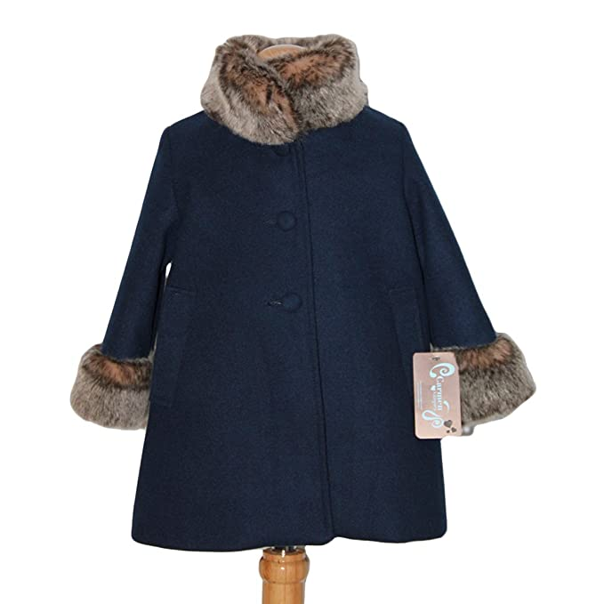 CARMEN VAZQUEZ - Abrigo Azul Marino con bocamanga y Cuello de Pelo. (2)