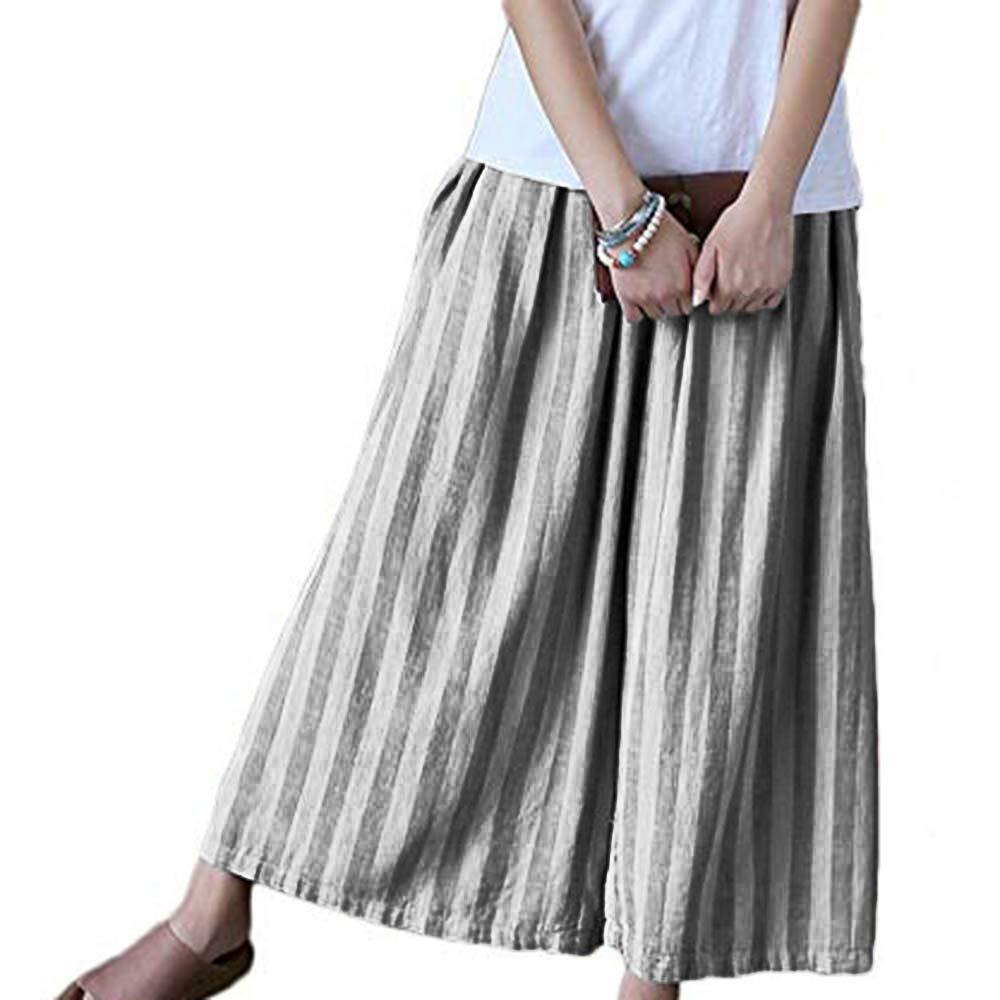 UONQD Womens Pants Ladies Cotton Linen Stripe Wide Leg Cropped Trousers (X-Large,Gray)