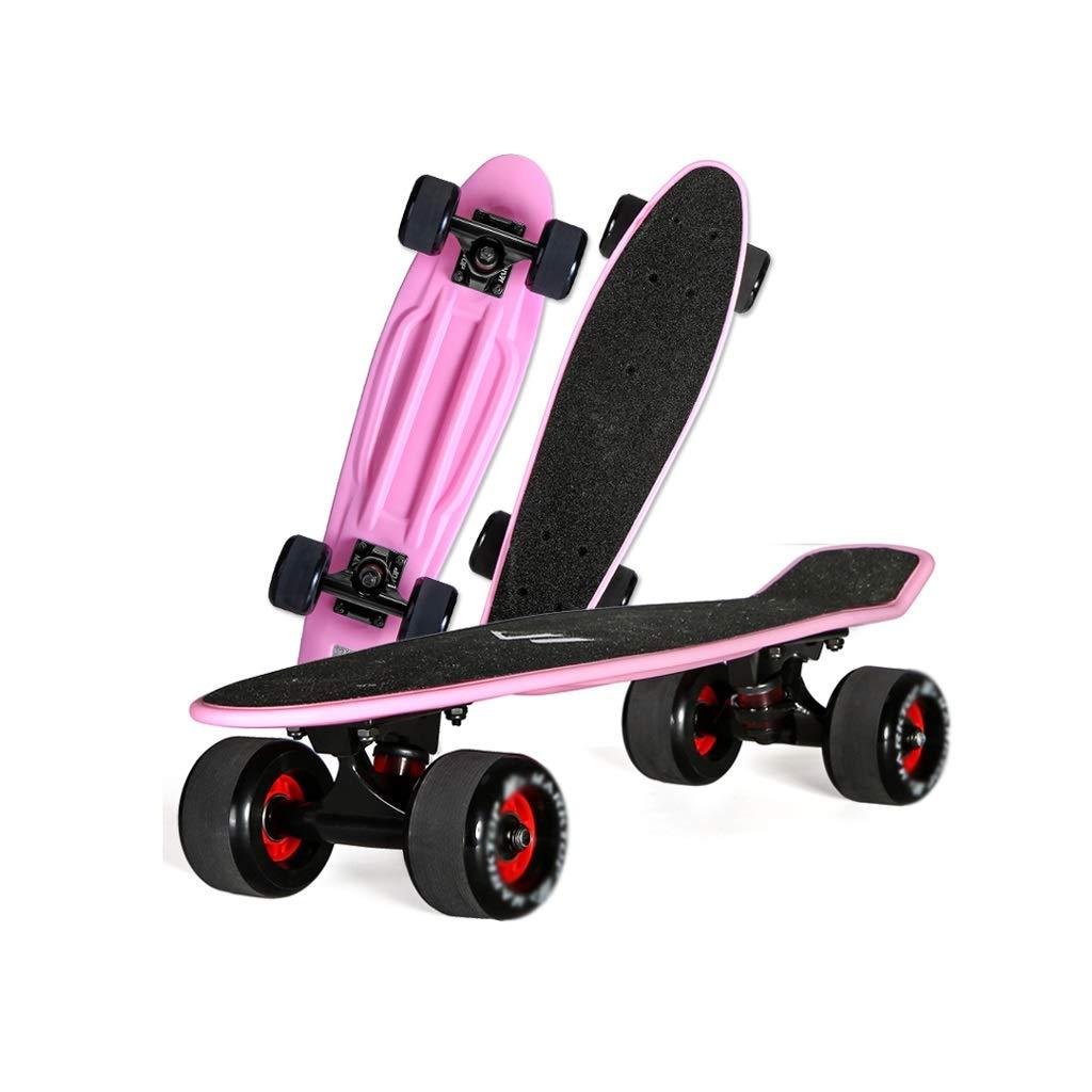 HXGL-Skateboards Skateboard Fish Plate Brush Street Banana Board Single-Warping Road Beginner Child Four-Wheeler Adult Boys and Girls (Color : Black)