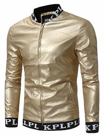 Ptyhk RG Mens Premium Slim Cotton Down Stand Collar Jacket