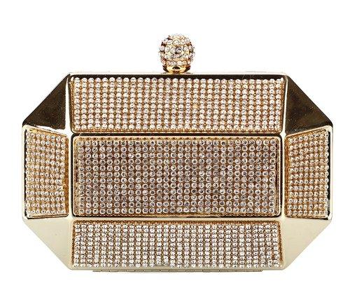 Chicastic Gold Rhinestone Stud Octagon Hard Box Clutch Wedding Bridal Bridesmaid Cocktail Evening Bag